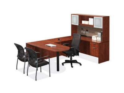 OfficeSource Cherry U Shaped Desk