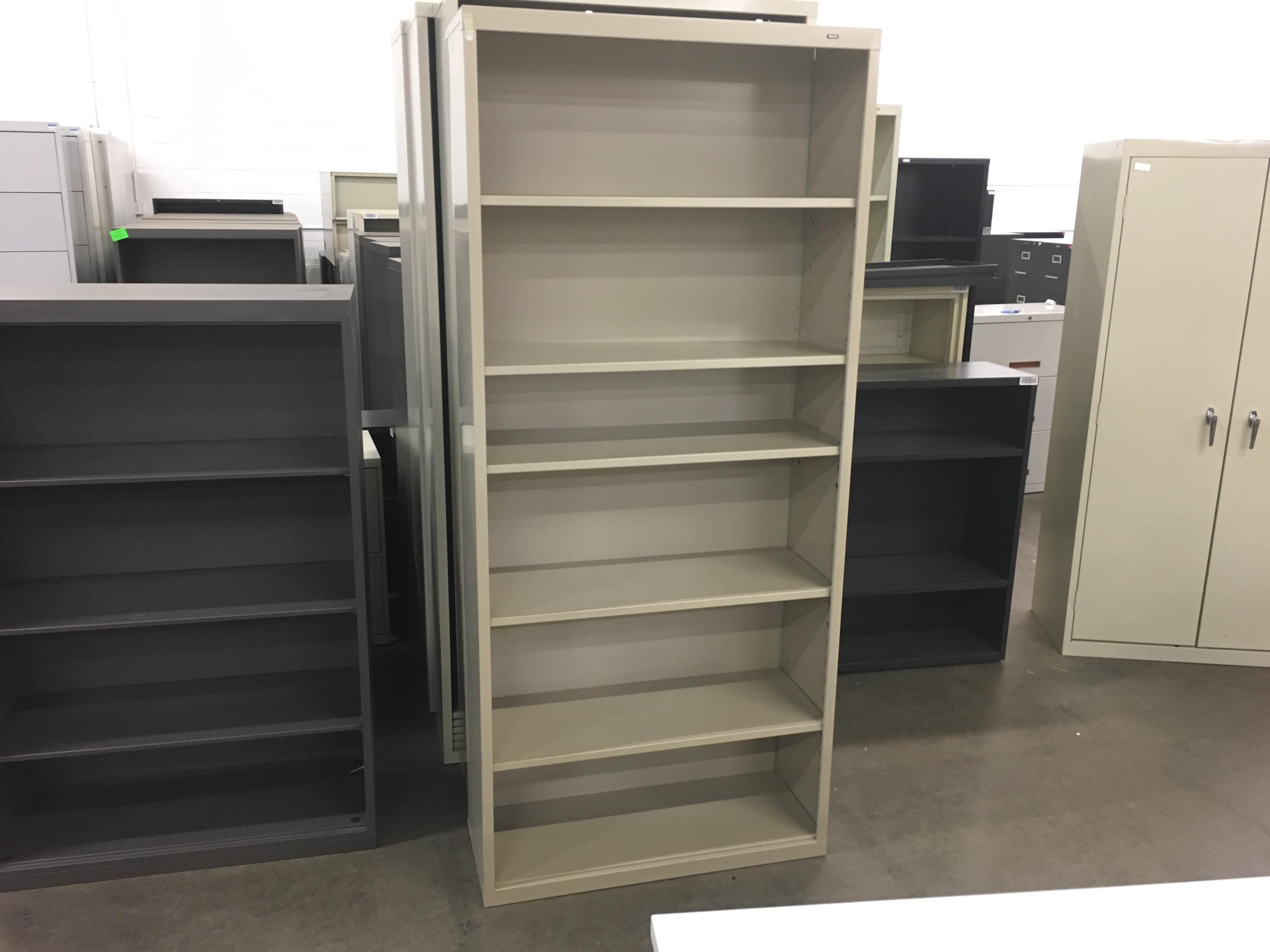 Tan 6 shelf bookcase