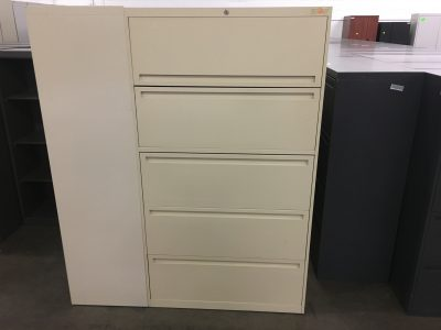 Used 5-Drawer Lateral File Cabinet in Tan finish