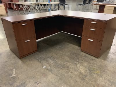 HON Walnut L-Desk