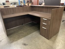Modern Walnut Reception Desk