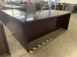 Veneer Bow Front L Desk